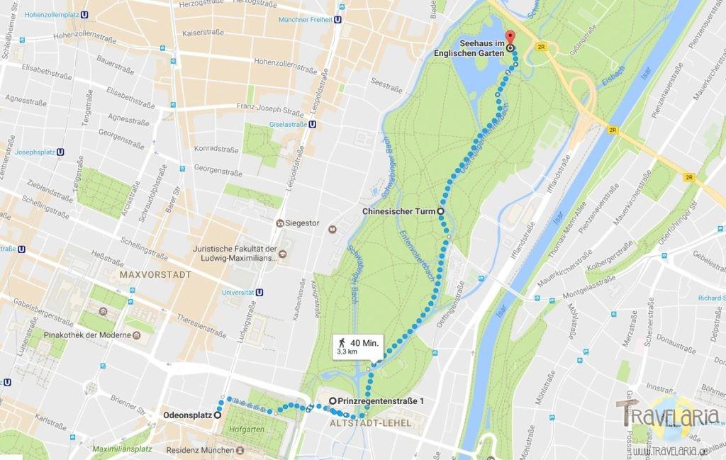 München Route: Odeonsplatz - Hofgarten - Surfwelle - Englischer Garten - Chines. Turm - Seehaus.